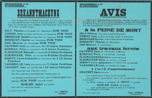 Affiche placardé le 18 novembre 1941 à lille, annonçant les peines