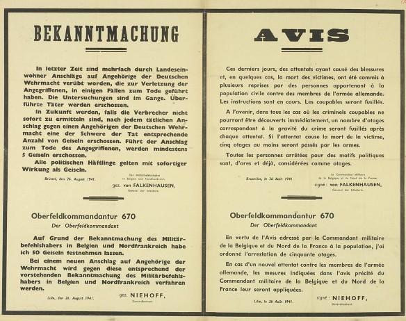 Affiche allemande présentant l'ordonnance des représailles sur les