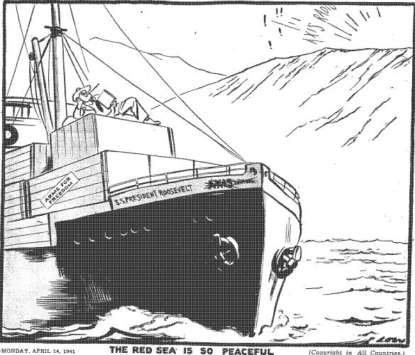 Le evening standard le 14 avril 1941 : &;la mer rouge est si paisible